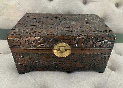 Antique Asian Dragon Bird Scenes Wood Box Ornate Hand-Carved Brass Vtg Patina