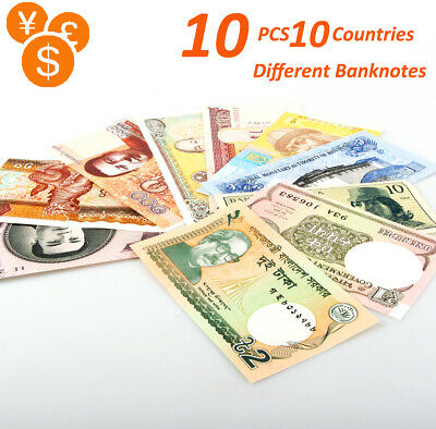 10 PCS Different World MIX Countries Banknotes Collection Lot Currency UNC Set