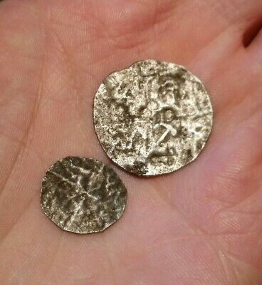 Metal Detecting Finds Unidentified Silver Hammered Coins Long Cross Saxon ?