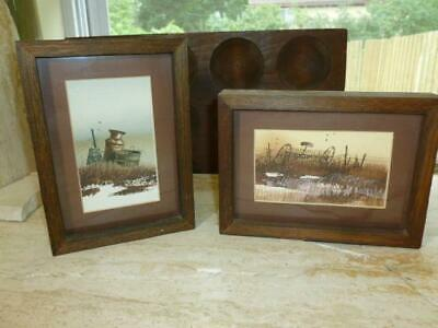 1979 Vintage Country Primitive Farming Water Color 2 Paintings Rustic wood Frame