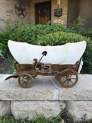 Vintage Miniature Covered Wooden Chuck Wagon