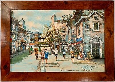 """Listed French Artist Louis Basset (b.1948) Signed Oil Painting On Canvas """"Paris"""""""
