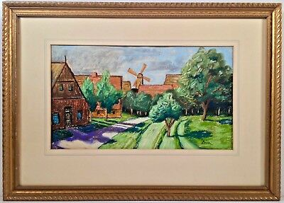 Listed German Artist Wilhelm Otto Dix (1891-1969) Signed Pastel Painting
