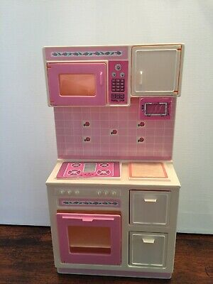 VTG 1987 Barbie Mattel Sweet Roses Pink Kitchen Stove Oven Microwave Drawers