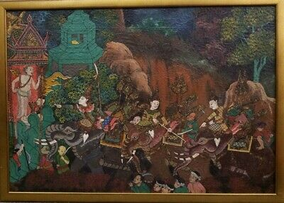 Finely detailed 19th c. Thai Oil Painting-mounted warriors by a Ramayana Temple
