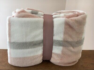 Soft Dusky Pink Blush Grey throw Tartan check  bed sofa blanket warm 150 X 125cm