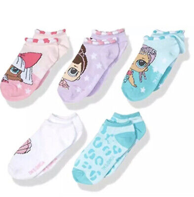 Girl LOL Surprise No Show Socks Pink Purple White Teal 5-Pairs Shoe Size 7.5-3.5