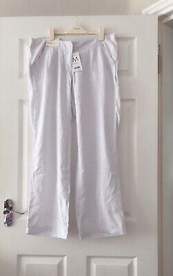 BNWT - NEXT - Maternity White Linen Trousers - Size 12 Regular Holiday Summer