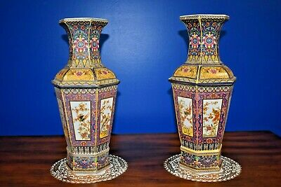 "Pr 15"" Hexagon Chinese Enameled Porcelain Vases Bird & Flower Asian Oriental"