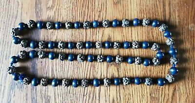 Unusual Victorian Strand of Carved & Round Wooden beads Necklace