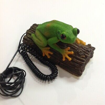 Vintage FROG SITTING ON A LOG Push Button Telephone