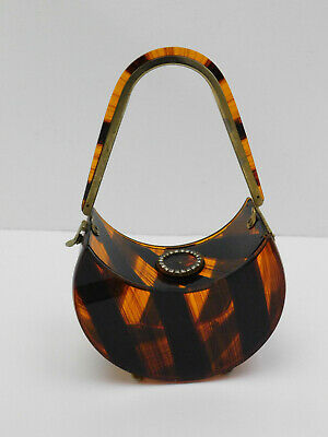 Vintage Lucite Bakelite Crescent Moon Handbag Box Purse Clutch Amber Color