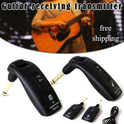 2.4GHz Wireless Guitar System Transmitter & Receiver Built-in Rechargeable Black