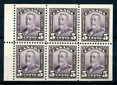 Weeda Canada 153a VF MNH/H booklet pane of 6, 5c deep violet Scroll issue CV$350