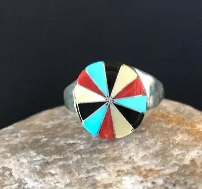Zuni Indian Sterling Silver Turquoise MOP Coral Lapis Ring Sz 5.5  Gift 1089