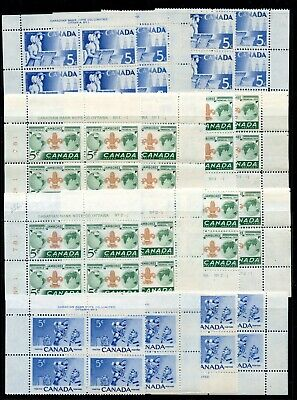 Weeda Canada 355//453 Fresh MNH lot of PBs mostly in M/S, 1955-67 issues CV $290