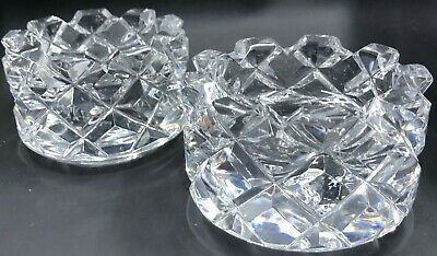 2 Orrefors SOFIERO Crystal Candle Holders Sweden Signed 3834/311 Diamond Pattern