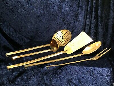 Vintage 5 Piece Set of Copper Kitchen Utensils with Hooks - from Portugal