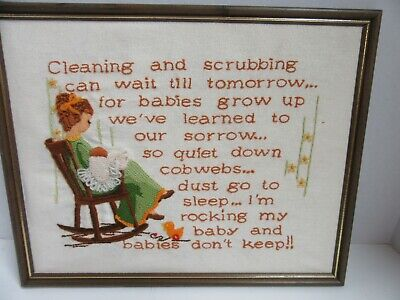 Finished Crewel Embroidery Babies Don't Keep Completed Framed 11.5x15 Vintage