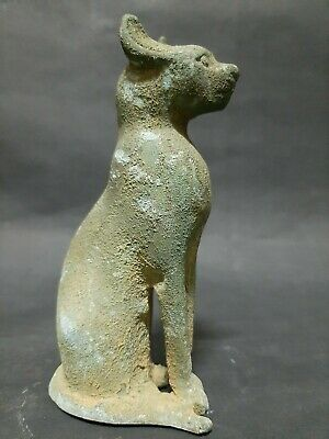 ANCIENT EGYPTIAN ANTIQUES BASTET Cat Goddess Pharaoh Ubasti Cat Statue Egypt BC