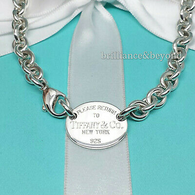 Return to Tiffany & Co. Oval Tag Chain Necklace Choker 925 Sterling Silver Pouch