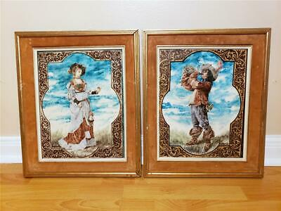 Pair Antique French / German Limoges / Kpm Porcelain Ceramic Framed Wall Plaques