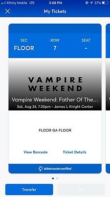 Vampire Weekend Tickets - Miami aug 24 $210 For Borth Or Best Offer