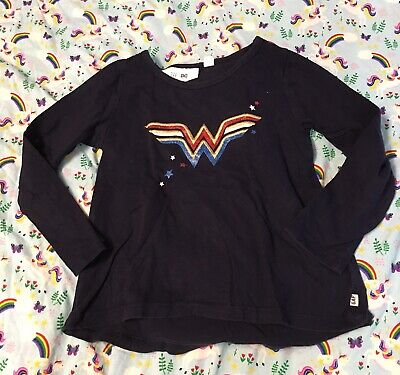 Baby Gap Toddler Girl DC Wonder Woman Blue Long Sleeves T-shirt with Cape size 4