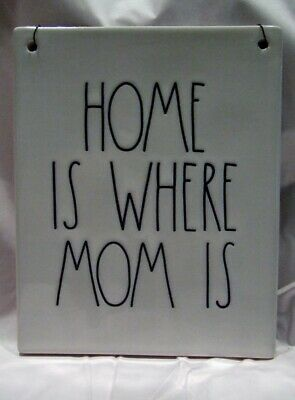 New Rae Dunn Ceramic HOME IS WHERE MOM IS Wall Plaque Sign Tile LL Black Letters