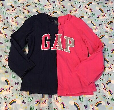 Lot of 2 Baby Gap Toddler Girl Blue and Pink Long Sleeves T-shirt size 3