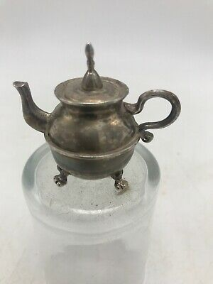 Mini Lunt Silverplate Footed Teapot Bell 2 x 1 3/4 Tiny Queen Anne