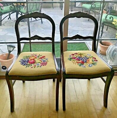 Pair Of Antique Mahogany Side Chairs With Beautiful Needlepoint Seats