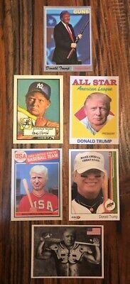 (6) DONALD TRUMP Baseball Card Lot ACEO USA MAGA President Upper Deck Topps Gun