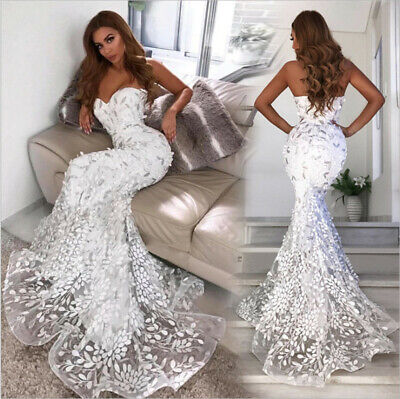 Women Sexy Strapless Bodycon Lace Dresses Mermaid Wedding Sleeveless Long Dress