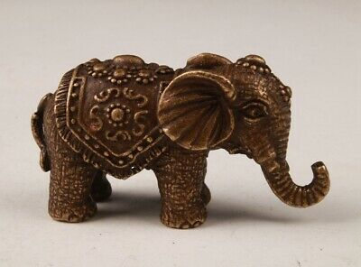 Rare Chinese Bronze Hand-Carved Elephant Animal Statue Figurine's Old Collection