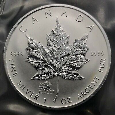 2000 Canadian Maple Leaf 1oz Silver .9999 DRAGON PRIVY Bullion Coin Round BU