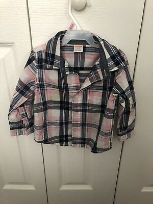 Gymboree Pink Blue White Plaid Baby Boy 12 months to 18 months  Dress Top Shirt