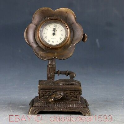 Vintage Collectible Old Chinese Brass Handwork Horn Mechanincal Globe Clock MY02