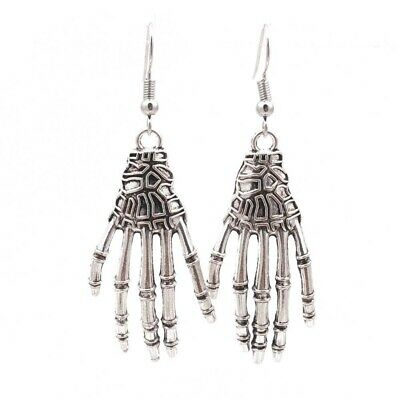 Halloween Vintage Carved Bone Skull Skeleton Hands Earrings Punk Women Jewelry
