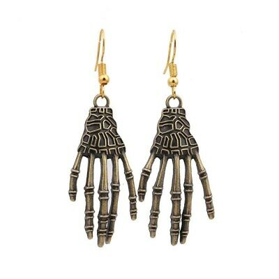 Halloween Vintage Carved Bone Skull Skeleton Hands Earrings Punk Women's Jewelry