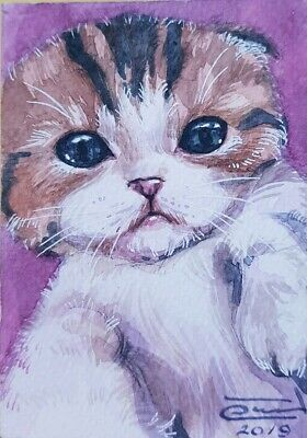 Original ACEO Watercolor Painting Art Collect Card Cute Cat Kitten Pink Gift