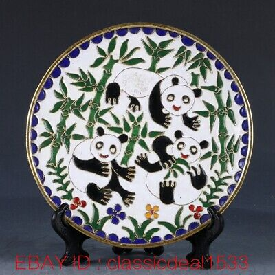 Chinese Cloisonne Handwork Carved Pandas & Bamboo Plate CC0223