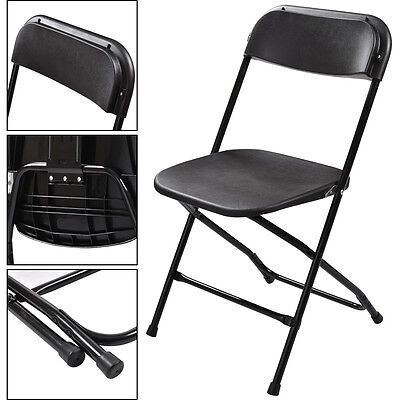 Commercial 8 Plastic Folding Chairs Stackable Wedding Party Event Chair Black