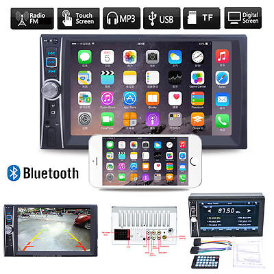 """7"""" HD Double 2DIN Car Stereo Bluetooth TFT Touch Screen MP3 MP5 DVD Player FM Xr"""