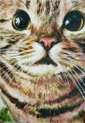 CUTE CAT ORIGINAL ACEO Watercolor Painting Art Brown Portrait Gift Card HBD Xmas