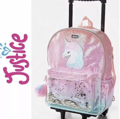 edd4eb242871 NWT JUSTICE OMBRÉ Sequin Initial Mini Backpack w/ Pom-Poms. A, H, J ...