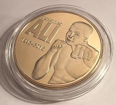 """2016 """"MUHAMMAD ALI"""" Tribute Coin, 1 0z 999 24k Gold Plated, token, Boxing"""