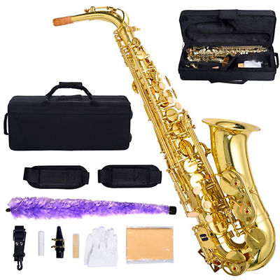 New Professional Eb Alto Sax Saxophone Paint Gold with Carry Case Accessories us