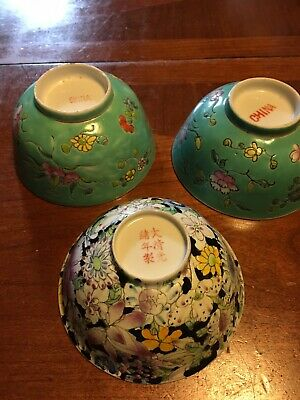 Three Antique Chinese Export Porcelain Bowl Hand Painted Flowers Old Asian China