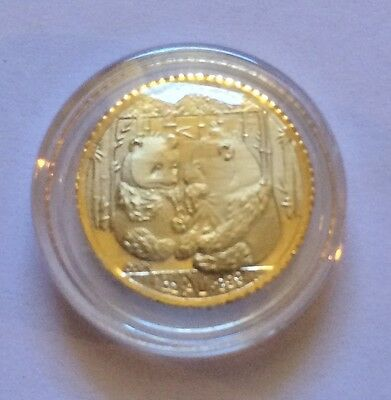 """Awesome 2010 """"Chinese Panda's"""" Mini Coin Finished in 24 Karat Gold"""